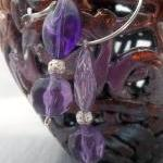 Pretty Purple Beaded Hoop E..