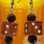 Amber Glass Dice Earrings ~ Funky!!