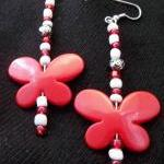 Red and White Butterfly ear..