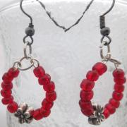 Red beaded hoops with Flowers Earrings