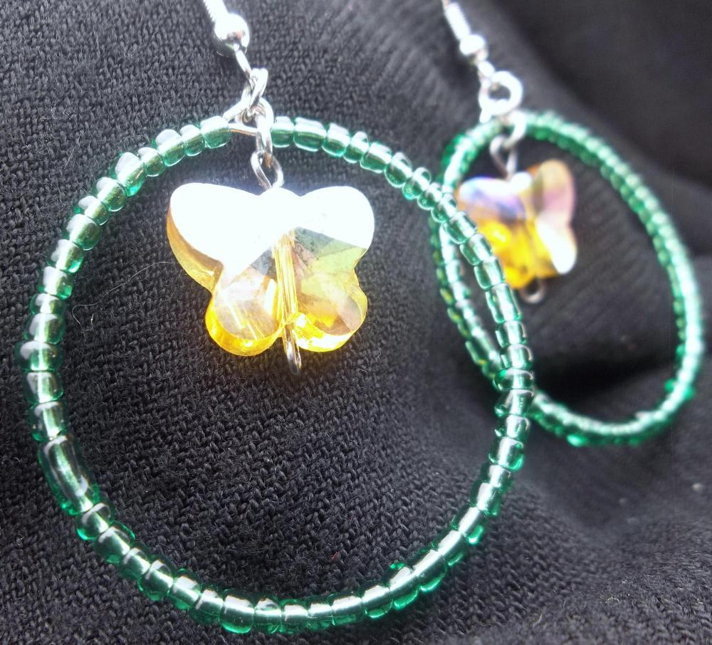 Green hoops and Yellow Butterflies Earrings - It's Spring!!!