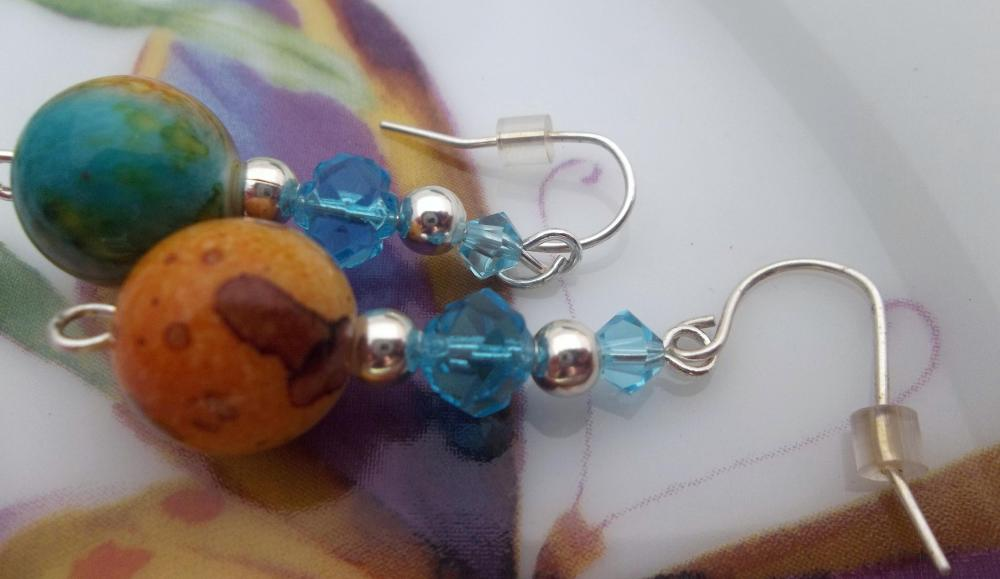 Marbled Beads and Turquoise Swarovski Crystals Earrings