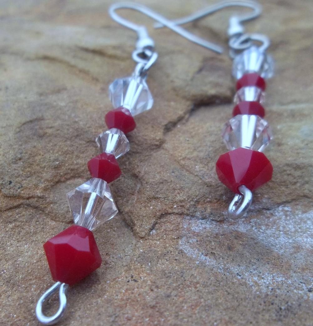 Red and Clear Swarovski Crystal earrings