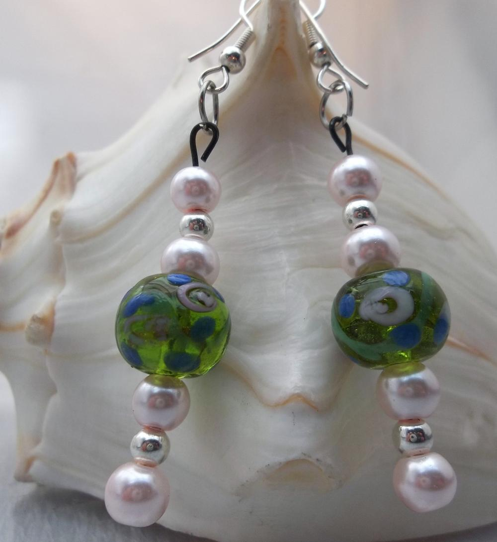 Green Floral and pearl beads earrings
