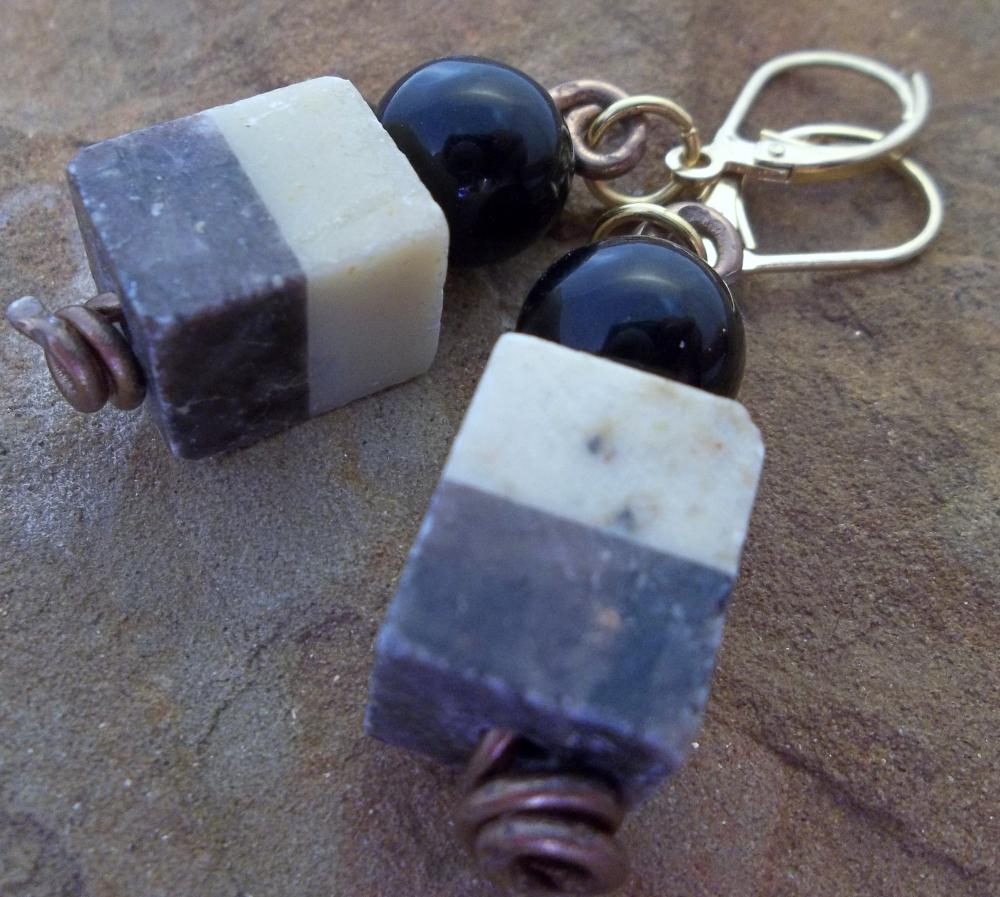 Black and White Square Stone and Wire Earrings