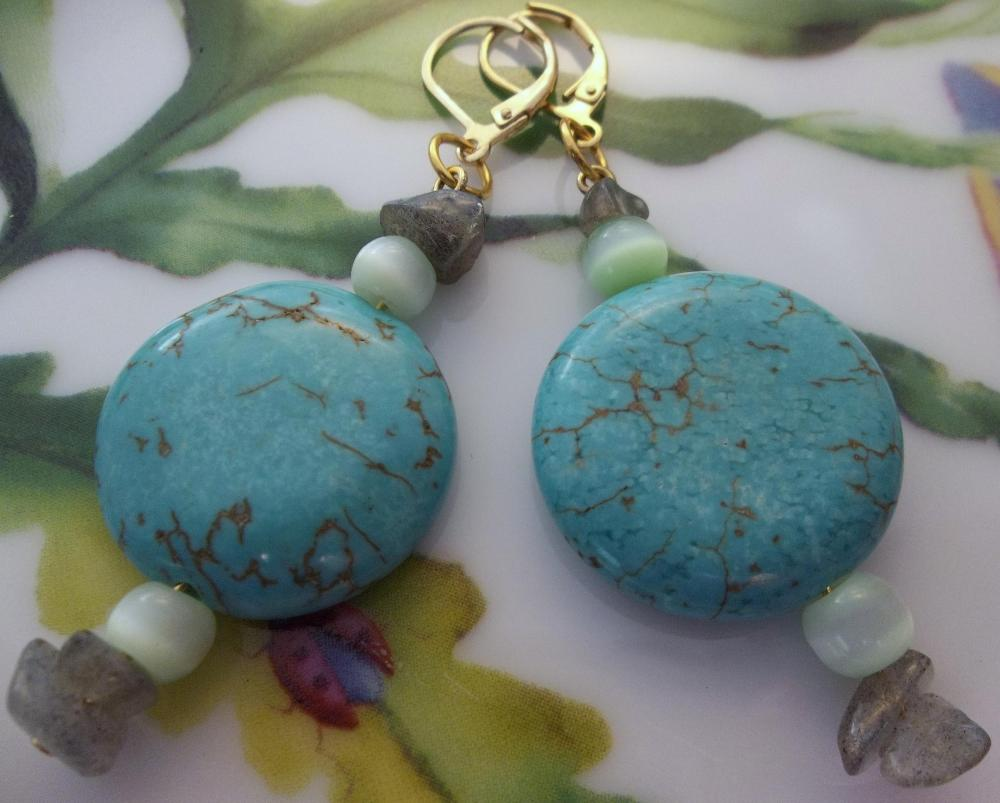 Turquoise and Fluorite Earrings