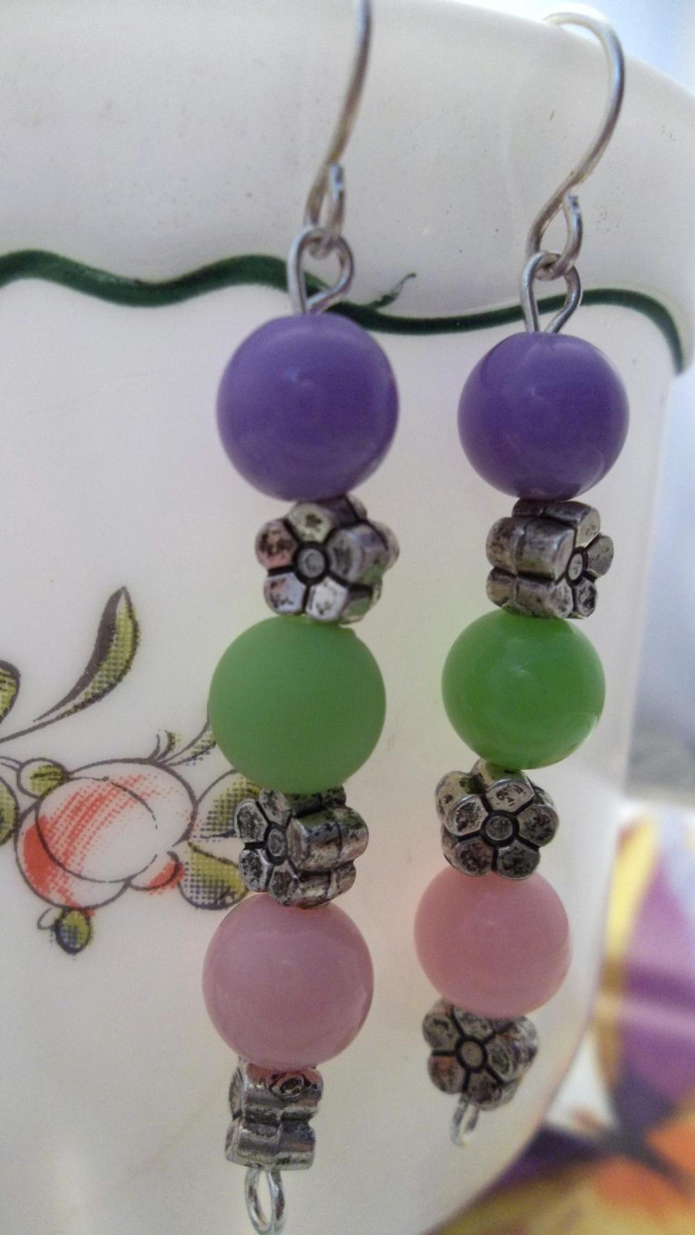 Purple, green, and Pink Beaded Earrings
