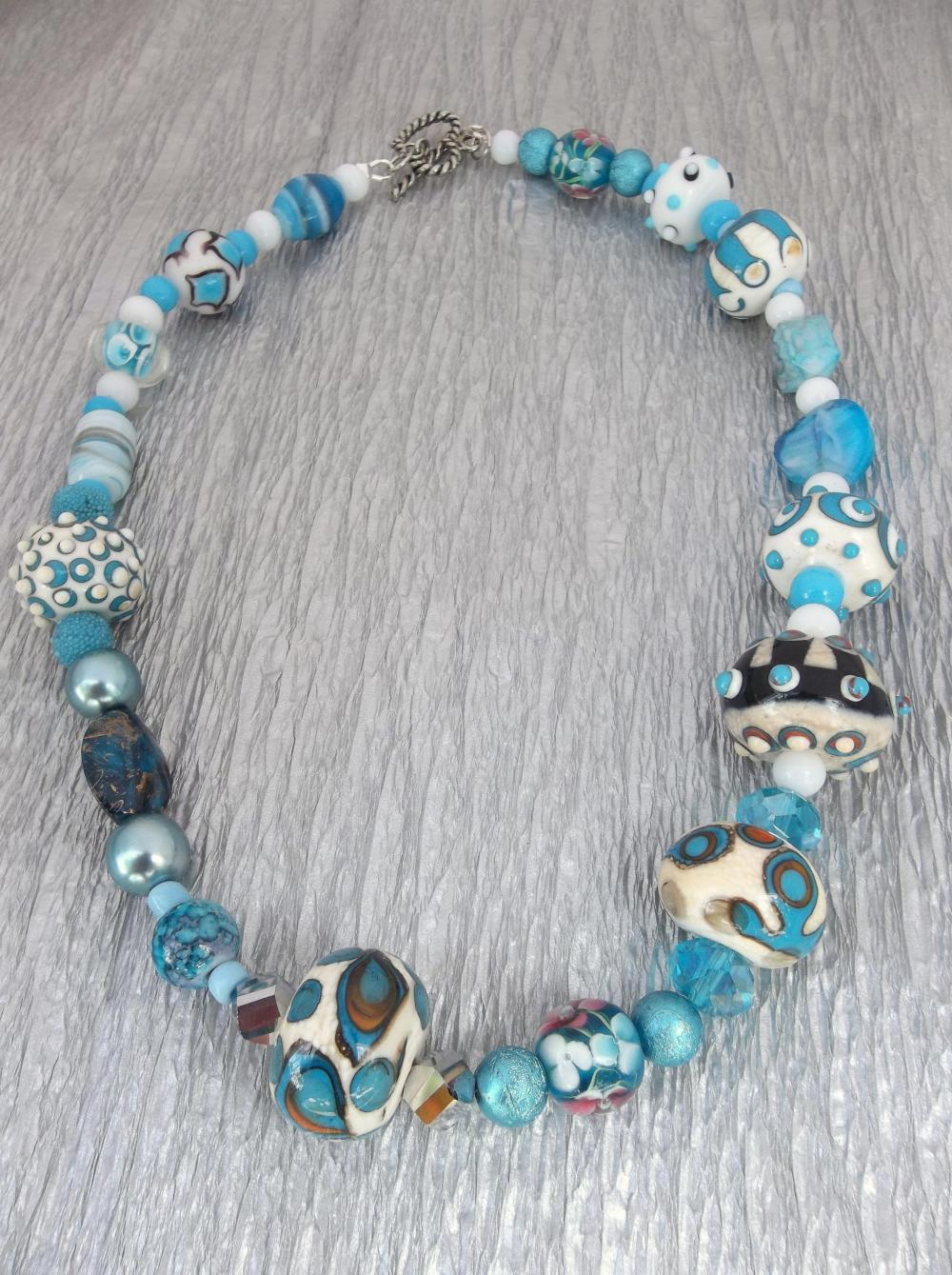 Lampwork - Summer Blues Necklace